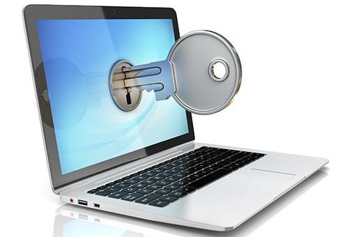laptop with key lock on display