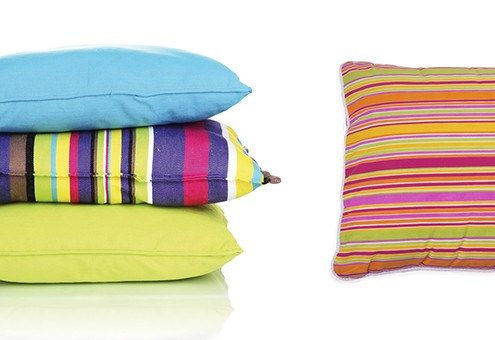 Colorful stripes cushion isolated