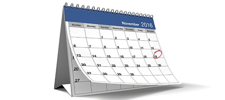 November 2016 Blue Desktop Calendar on Isolated White Background
